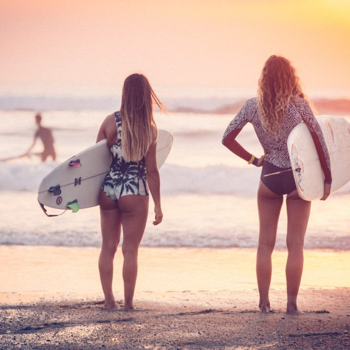 Sunset surf session with Justine Dupont & Caroline's Yoga